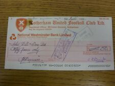 10/03/1983 Rotherham United: Official Club Cheque - payable to Arthur Bell & Son