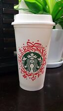 Starbucks Holiday Wreath Reusable Plastic Coffee Cup 16 oz, New - Ships FREE!