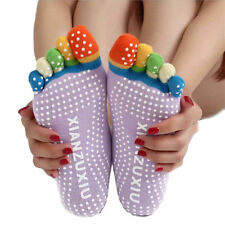 Womens 5-Toe Colorful Yoga Gym Non Slip Massage Toe Socks Full Grip Casual  PP