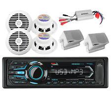 6 White Marine Speakers,Boss Marine Bluetooth USB iPod AUX Radio,800W Amplifier