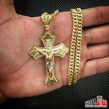 "10K Gold Bonded Cross Pendant 26"" Hollow Cuban Link Chain Set .925 Base Mens CZ"