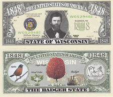 Two Wisconsin WI State Quarter Novelty Money Bills Note #131