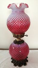 VTG FENTON  ART GLASS GONE WITH THE WIND CRANBERRY OPALESCENT HOBNAIL LAMP H7
