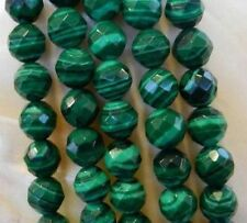 """8mm Faceted Green Malachite Gemstone Round Loose Beads 15""""AAA"""