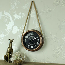 Retrobrushed copper wall clock rope hanger shabby vintage chic gift home