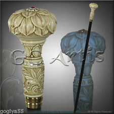 NIGHT GLOW! FLOWER VICTORIAN STYLE WALKING STICK CANE HANDMADE GLASS CRYSTALLS