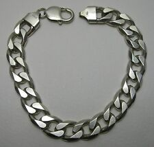 """NICE PRE-OWNED 8-1/4"""" HEAVY 42g GENTS HALLMARKED SILVER FLAT CURB LINK BRACELET"""
