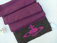 BNWT Vivienne Westwood Brown Pink Stripe Two side Scarf  - Made in Italy