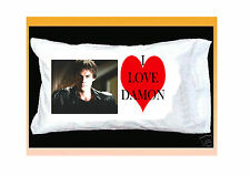 I LOVE DAMON SALVATORE PILLOWCASE & RED HEART Vampire Diaries IAN SOMERHALDERE