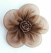 "5 X Large Organza Flowers Sew On Appliques Size: 2""  Colour: Brown  #2"