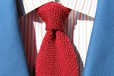 The Natural Style Gentleman's Crimson Knit / Woven Silk Tie - Italy