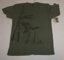 Mallard Mens T-Shirt Large Dri Duck 100% Cotton Sage Green Wildlife New