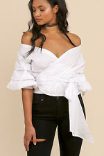 SAVANNAH WHITE Ruched Puff Sleeve Waist Wrap Tie Bow Blouse/Shirt/Top S/M BHCS