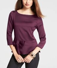 NWT NEW $78 Ann Taylor Peplum BOW detail Cranberry Blouse shirt Top Sz 0 P