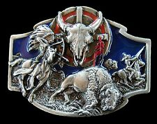 BUFFALOS INDIANS HUNTER BOW  ARROW WESTERN BELT BUCKLE BOUCLE DE CEINTURE