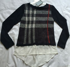 new Como Black Acrylic Woven P8222RM Blue Plaid Knit Pull-Over Sweater Women's S