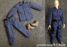 "1/6 Scale LAPD SWAT FBI Soldier blue work suit clothes and boots fit 12"" body"
