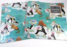 Wedding Gift wrap Vintage Hallmark Ambassador 2 packages whimsical penguins blue