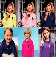 Children are boys and girls polo shirts net long sleeve T-shirt 2-13 y 14 colors