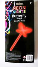 RED BUTTERFLY GLOW WAND Party Costume Accessory NEON NIGHTS Glows for Hours SNAP