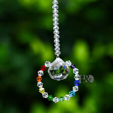 Crystal CLEAR Tiny Car Suncatcher Feng Shui Faceted Hanging Prisms Ball Ornament