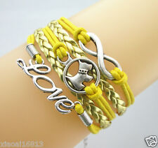 Pretty Infinity/Dog/Love Hearts Charms Leather Braided Bracelet Gold/Yellow