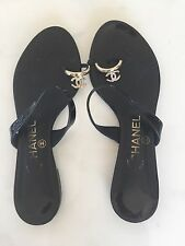 CHANEL Black Ring Toe Sandals Flats Heels Silver METAL CC LOGOs Slip On 38 7 7.5