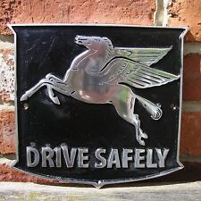 Mobil Pegasus Drive Safely PAINTED Cast Sign VW Hotrod Vintage NOS Volkswagen