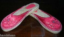Asian Indian Red Satin Rope Espedrille Mules Slippers Shoes Large Extra Large