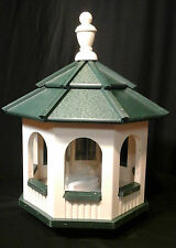 Vinyl Gazebo Bird Feeder Amish Homemade Handmade Handcrafted Ivory & Green med