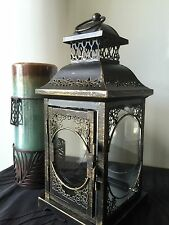 Antique Bronze Metal Lantern. Fabulous Accent touch
