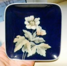 Royal Copenhagen # 2839/986 Dark Blue Square Floral Pin Dish- ca1969-74