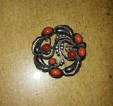 Rare Georg Jensen Sterling Silver Moonlight Brooch with Coral #159