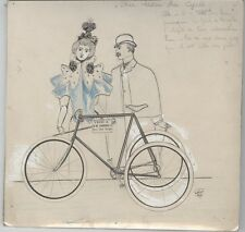 """AU SALON DU CYCLE"" Dessin de presse original  1896 Georges CONRAD  23x22cm"
