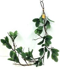 Laurel Leaf Greenery Wired Garland. 5 ft. Long. Silk. Green, Brown Stems.