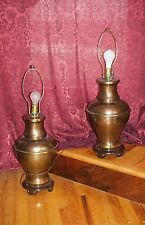 VTG Pair Brass Bronze Urn Table Lamps Frederick Cooper Style Carved Wood Footed