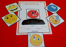 I AM FEELING...board + emotion/expression cards - velcro attached- special needs