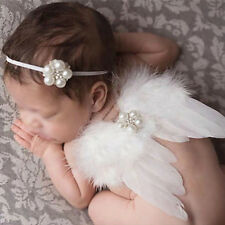 Girl Handmade Baby Feather Lace Manual Pears Headband & Angel Wings Photo Props