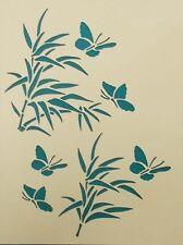 Scrapbooking - STENCILS TEMPLATES MASKS Sheet - Butterflies and Bamboo Stencil
