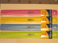 """12"""" Rubber Plastic Flexible 12-Inches Ruler 4pack Pink Green Blue Yellow Wescott"""