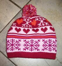 629  Athletech Pink & Red Knit Beenie Ski Hat Cap Lined in Pink Fleece