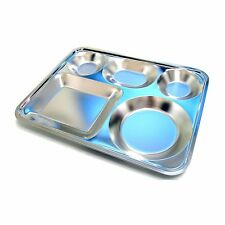 Large 5 Divided Stainless Steel Food Tray For Adult Diet Food Control Tray New