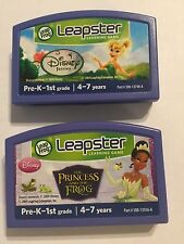 2x LEAP FROG LEAPSTER GAME CARTRIDGES DISNEY FAIRIES + THE PRINCESS & THE FROG