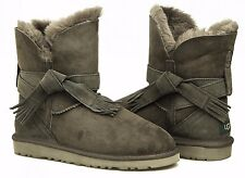 UGG Australia KASPAR Short Grey Knot Suede Boots US 8 Eu 39 LAST PAIR NEW IN BOX