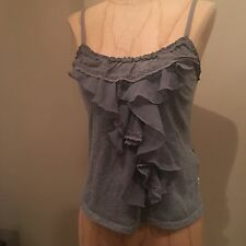 Hollister Co Dark Grey Layered Ruffle Embellished Front Cami Tank Top Size XS