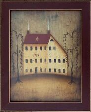 Salt Box House Folk Primitive John Sliney Print Framed