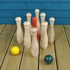 Wooden Garden Skittles game - great outdoor fun especially at barbecue time