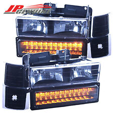 BLACK/AMBER LED BUMPER+CORNER+HEADLIGHTS SET CHEVY C10/SUBURBAN/TAHOE/BLAZER