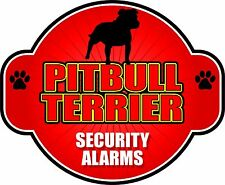 "PITBULL TERRIER SECURITY ALARMS 5"" X 6"" DIE-CUT STICKER"