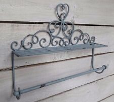 Vintage Style Metal Towel Rail with Shelf in Antique Grey Distressed Finish